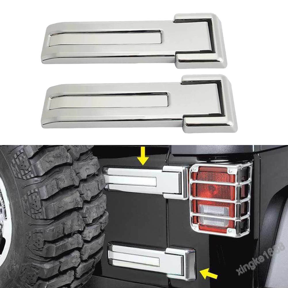 2pcs Chrome Car Rear Dress-Up Door Hinge Buckle Cover For Jeep Wrangler 2007-17
