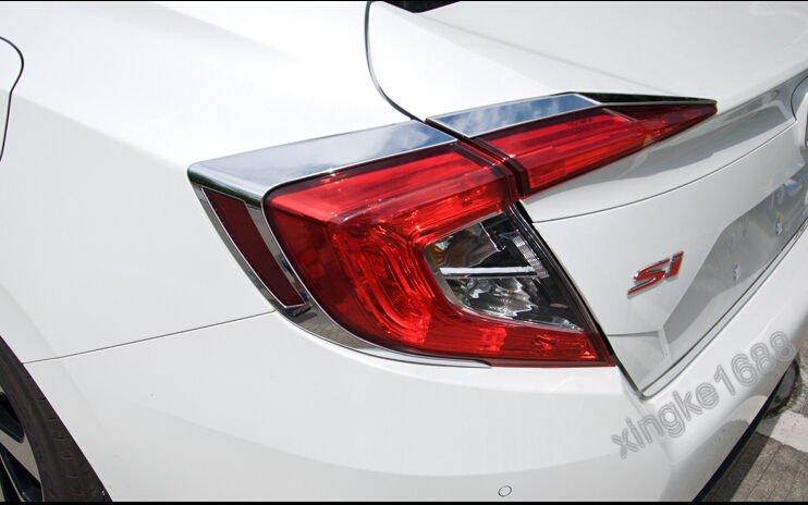 Rear Bumper Protector Sill Plate for 2016-18 Honda Civic 10th Gen 4dr Sedan red